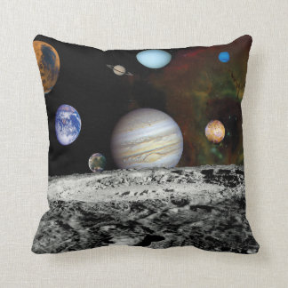 Solar System Voyager Images Montage Space Photos Throw Pillow