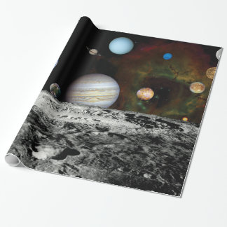 Solar System Voyager Images Montage Wrapping Paper