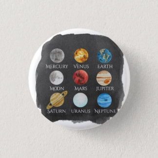 Solar System Watercolor Button