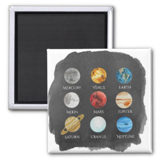 Solar System Watercolor Magnet