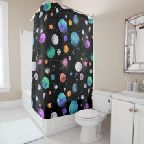 Solar System Watercolor Outer Space Planets Galaxy Shower Curtain