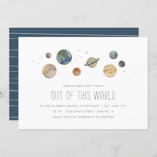Solar System Watercolor Party Invitation