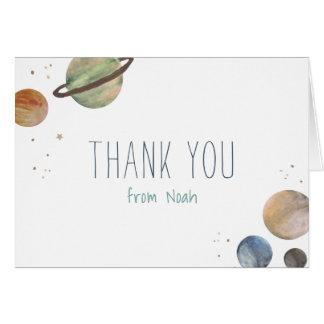Solar System Watercolor Thank You Card