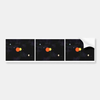 Solar system with a binary star and four planets car bumper sticker