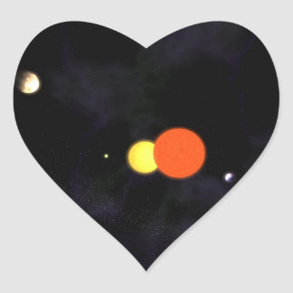 Solar system with a binary star and four planets heart sticker