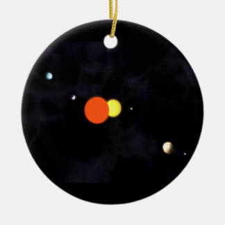 Solar system with a binary star and four planets christmas tree ornaments