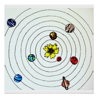 Solar System with Flower Sun Poster