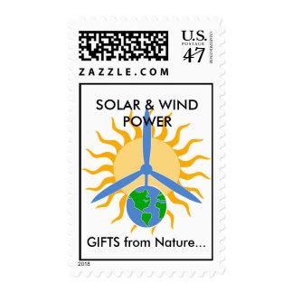 SOLAR y ENERGÍA EÓLICA, REGALOS de… Timbre Postal