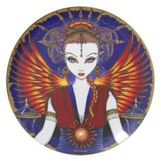 """Solara"" Sun Goddess Fire Angel Collector Plates"
