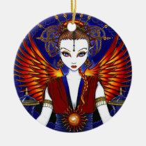 solara, sun, goddess, angel, fairy, fire, fae, faerie, faery, fantasy, symbols, singing, bowl, cymbals, scrolls, celtic, knot, work, oriental, jewelry, head, dress, wings, myka, jelina, mika, angels, Ornament with custom graphic design