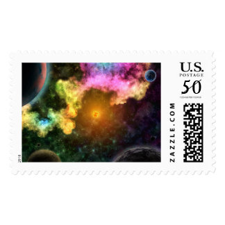 SOLARED SYSTEM (outer space planetary art) ~.jpg Postage