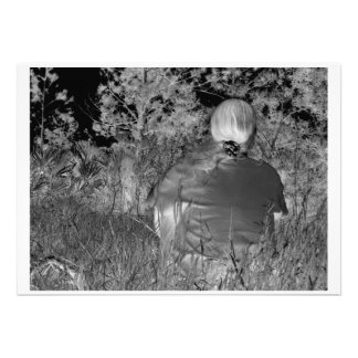 Solarized negative photograph of solo figure personalized announcements