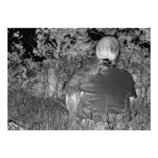 Solarized negative photograph of solo figure custom announcements