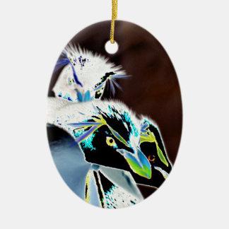 Solarized Rockhopper Penguins Ceramic Ornament