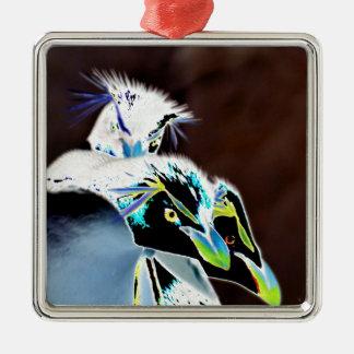 Solarized Rockhopper Penguins Metal Ornament