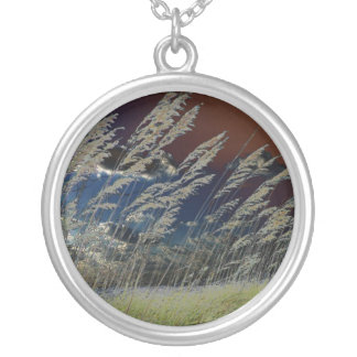 Solarized sea oats picture on florida beach silver plated necklace