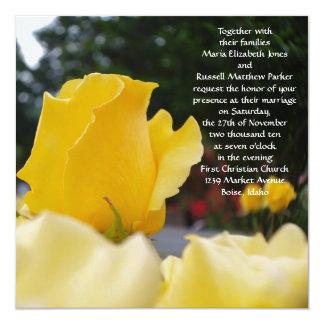 Solas invitaciones del boda del rosa amarillo invitación 13,3 cm x 13,3cm