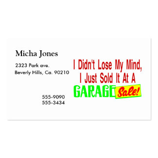 Sold My Mind At Garage Sale Double-Sided Standard Business Cards (Pack Of 100)
