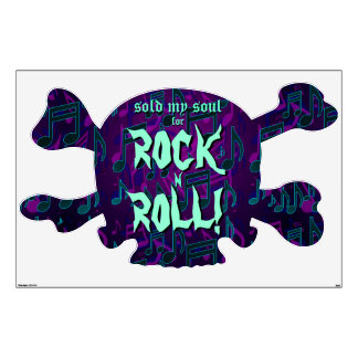 Sold My Soul For Rock N Roll Skull Xbones Large Room Stickers
