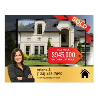 SOLD Real Estate Advert sale agent sleek golden Postcard