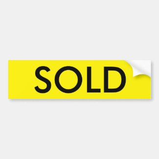 SOLD Real Estate Bumper Sticker for Sign