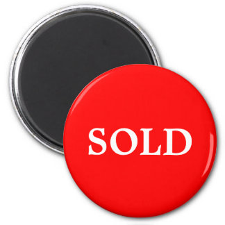 SOLD Realtor or Retail Sign Marker Red White 2 Inch Round Magnet
