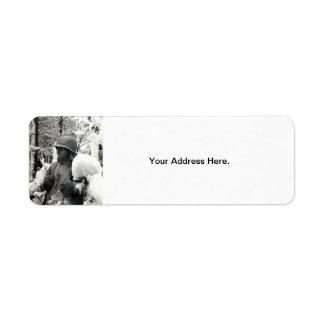Soldado americano de WWII en Bastogne Etiquetas De Remite