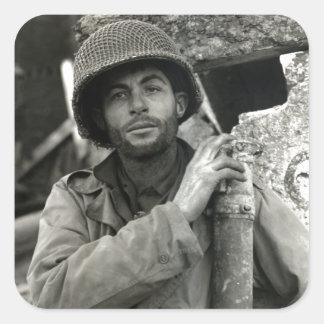 Soldado americano de WWII en el bosque de Hurtgen Pegatinas Cuadradas Personalizadas