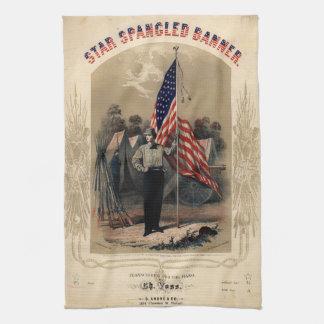 Soldado americano del vintage y bandera de los E.E Toallas De Mano