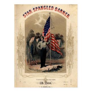Soldado americano del vintage y bandera de los E.E Postal