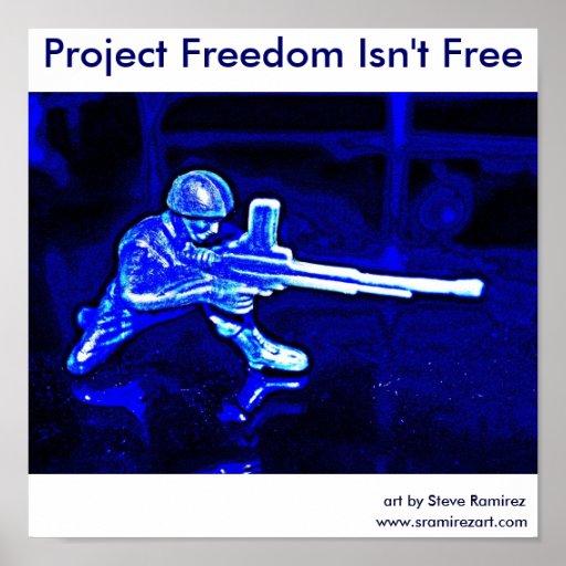 Soldado azul de la ametralladora póster