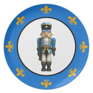 Soldado azul del cascanueces platos para fiestas