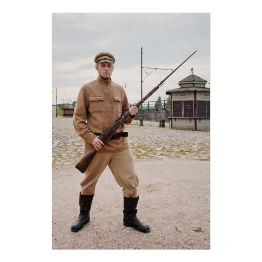 Soldado con el arma en imagen retra del estilo poster