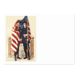 Soldado confederado de la unión de la bandera de tarjetas de visita grandes