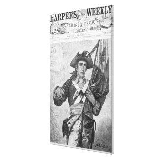 Soldado continental que sostiene una bandera del m impresión en lona estirada