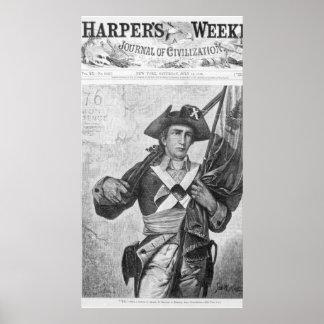 Soldado continental que sostiene una bandera del m poster
