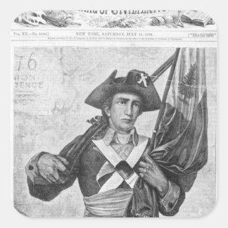 Soldado continental que sostiene una bandera del pegatina cuadrada
