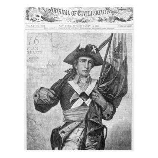 Soldado continental que sostiene una bandera del postales