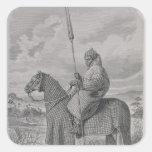 Soldado de caballería de Baghirmi en armadura Pegatina Cuadradas