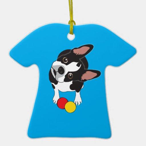 Soldado de caballería la Boston Terrier Adorno De Cerámica En Forma De Camiseta