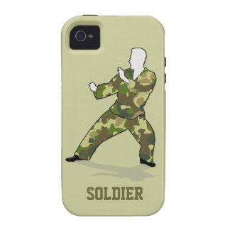Soldado de Camo en el iPhone de color caqui verde Vibe iPhone 4 Carcasas