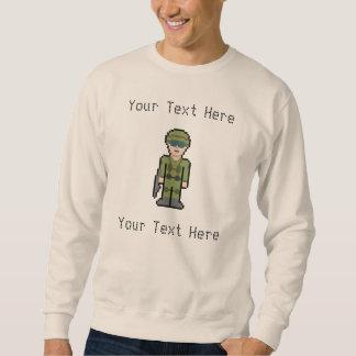 Soldado de encargo del pixel del texto sudadera