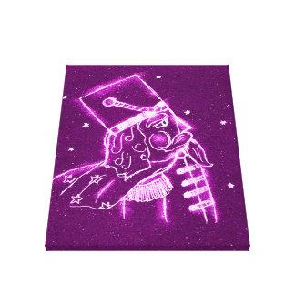 Soldado de juguete del cascanueces en magenta impresión en lienzo