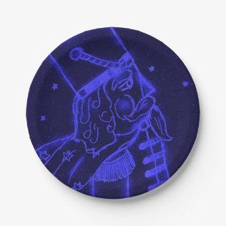 Soldado de juguete en azul real platos de papel