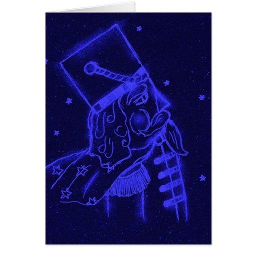 Soldado de juguete en azul real tarjeta
