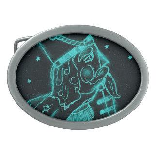 Soldado de juguete en negro y aguamarina hebilla de cinturón oval