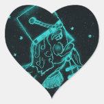 Soldado de juguete en negro y aguamarina pegatina en forma de corazón