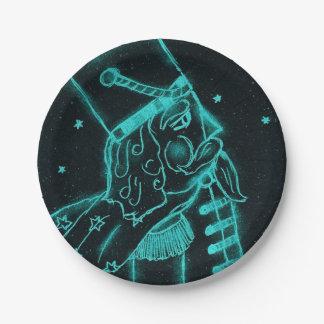 Soldado de juguete en negro y aguamarina platos de papel