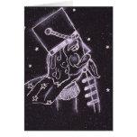 Soldado de juguete en negro y púrpura tarjeta de felicitación