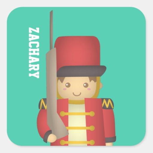 Soldado de juguete lindo del navidad en rojo pegatina cuadrada